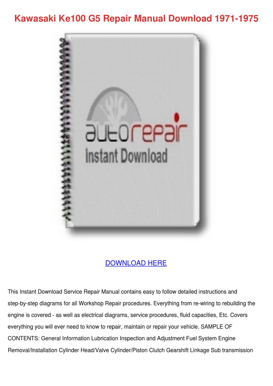 kawasaki ke100 repair manual download