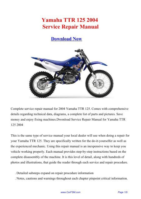 2004 yamaha ttr 125 service manual