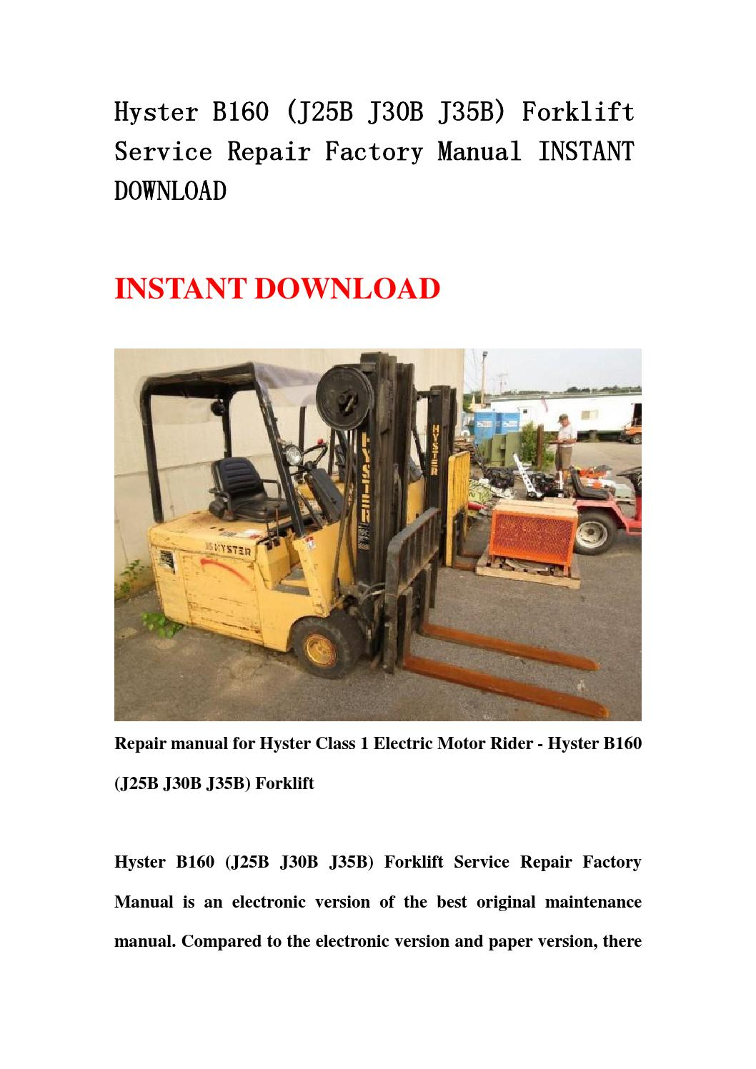 hyster forklift repair manual pdf