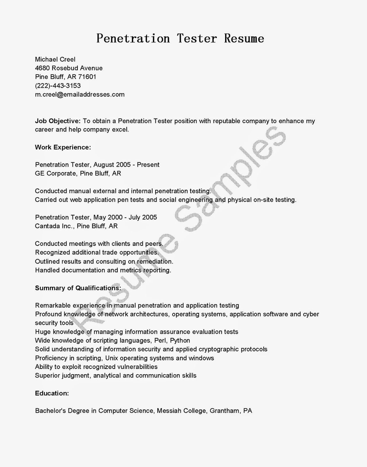 qa manual tester sample resume