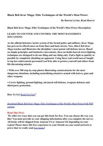 krav maga techniques manual pdf