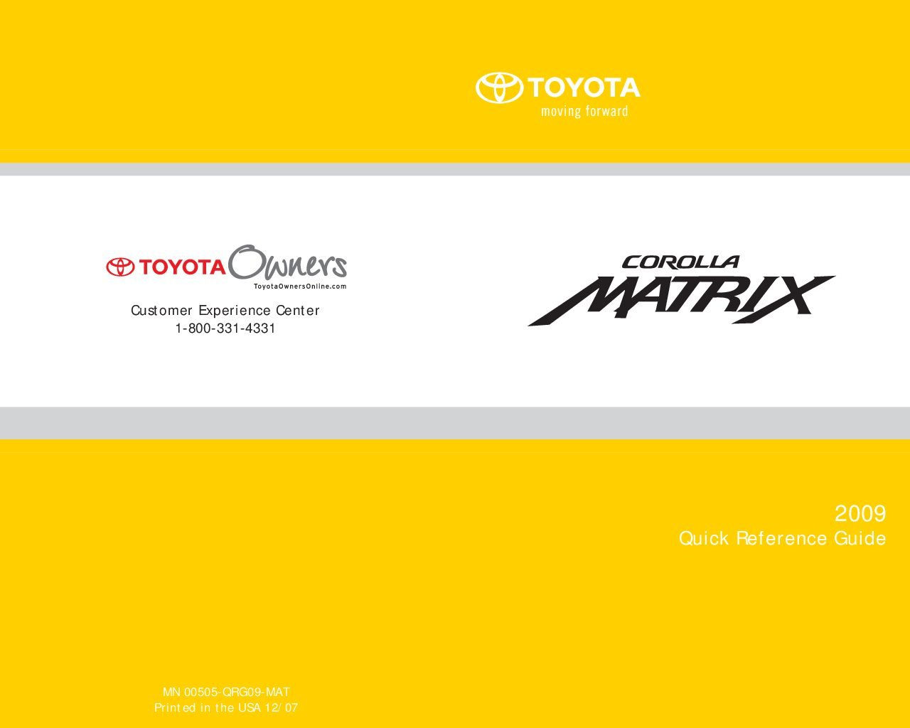 2009 toyota matrix owners manual
