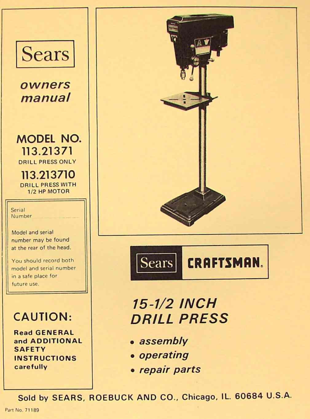 craftsman 17 drill press manual
