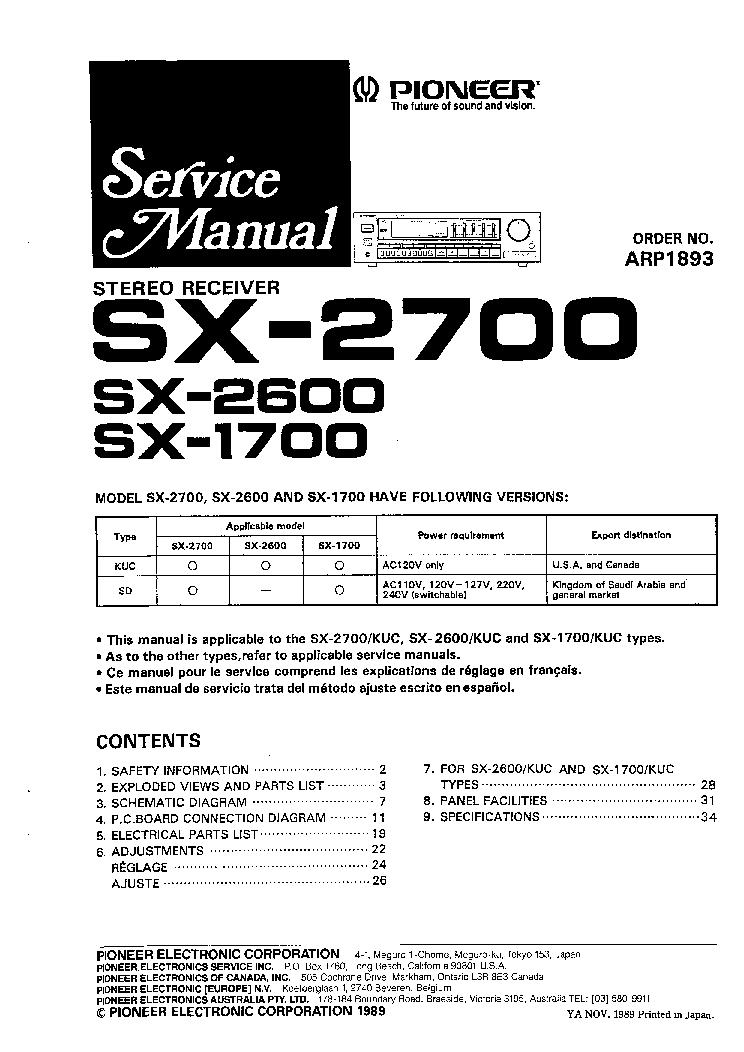pioneer sx 535 service manual