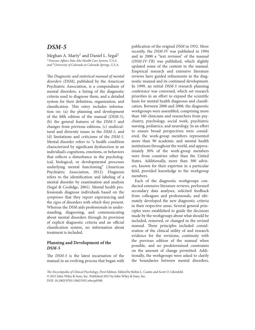 diagnostic statistical manual of mental disorders