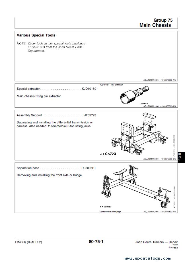 john deere 6405 service manual