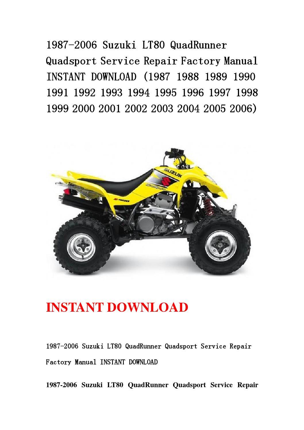 suzuki quadsport 80 repair manual
