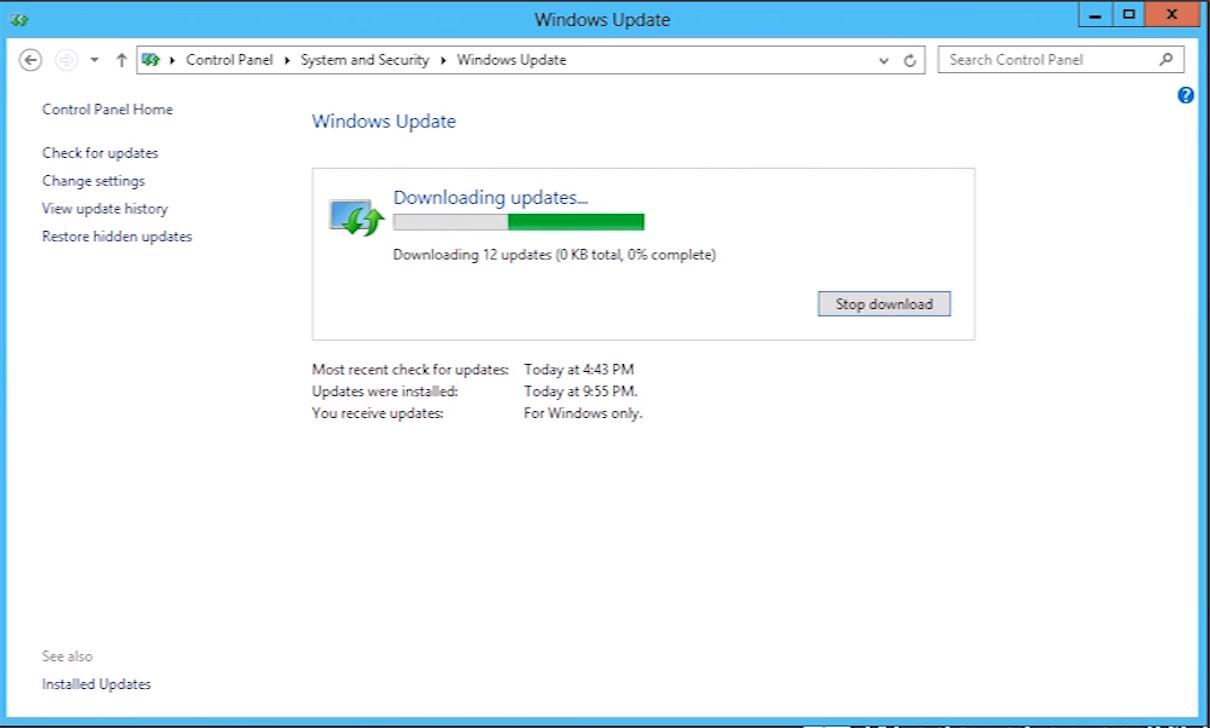 windows server 2016 manual updates